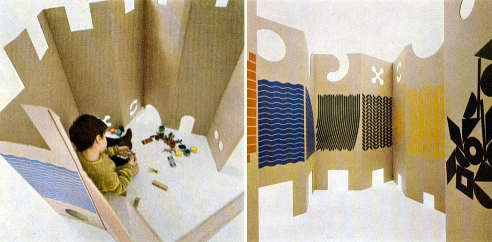 Domus 458 / February 1968 page details. <em>Il posto dei giochi</em> [The place of games] was designed to allow children to organize their own space. The prints and cutouts evoke recognisable elements, allowing children multiple associations and projections