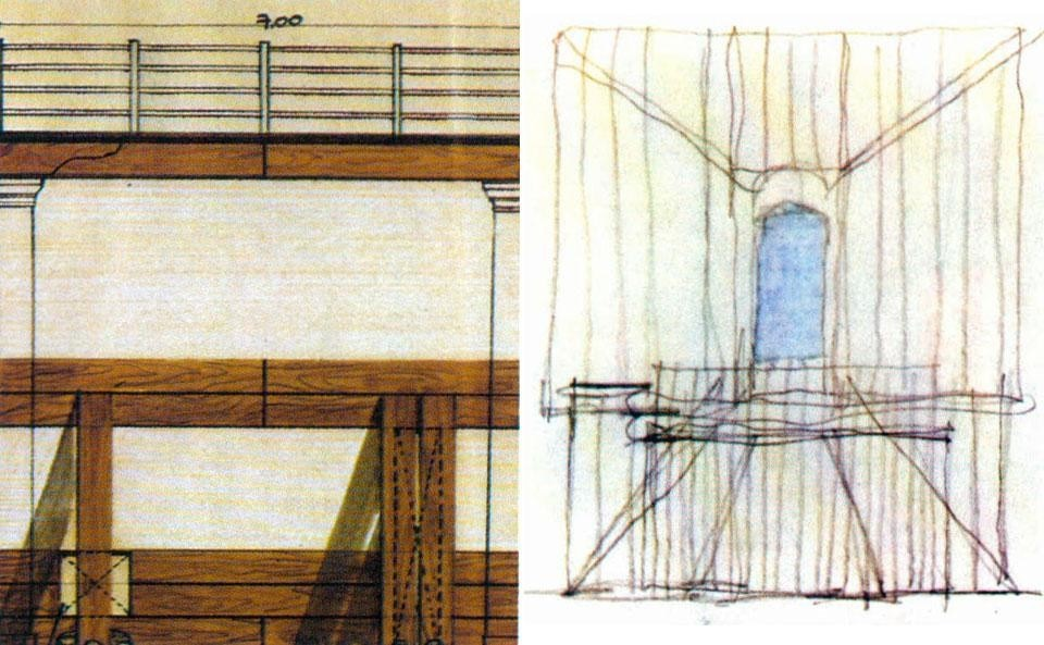Domus 605 / April 1980 page details. 1st International Architecture Exhibition, <em>The Presence of the Past</em>. Left, a drawing by Arata Isokazi; right, drawing by Frank O. Gehry