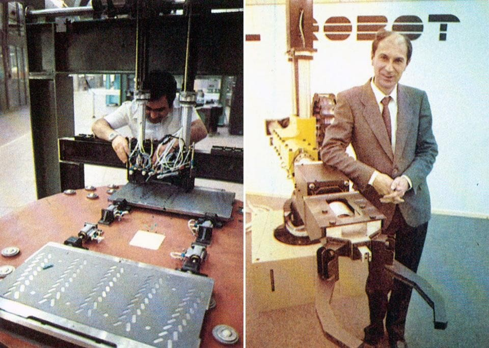 Left, some industrial robots, produced in Italy, in use in large factories. Right, <em>Camel Robot</em>, Milan 1984. Manipulating robot, specialised in thermic procedures, pictured here with its designer Alessandro Ferloni. From the pages of Domus 651 / June 1984