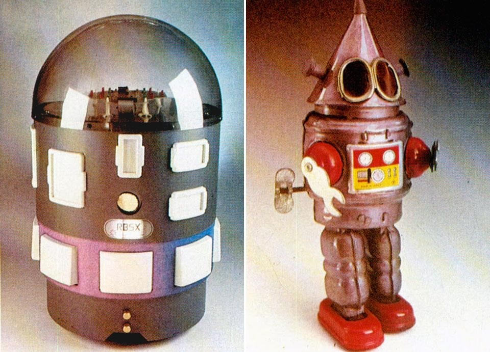 Left, <em>RB5X. The intelligent Robot</eM>, USA 1982. Mobile personal robot for the office, programmable in LOGO (the simplest programming language). Follows voice commands, reproduces sounds, can find its way, able to find and put out small fires. Right, robot toy, USA 1960. From the pages of Domus 651 / June 1984