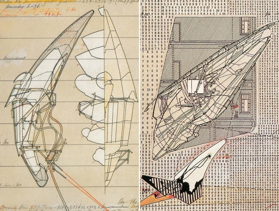 Left, pencil drawing of <em>Aerial Paris</em>, 1989. Right, view of the <em>Berlin Free Zone</em> project, done by Woods between 1990 and 1991