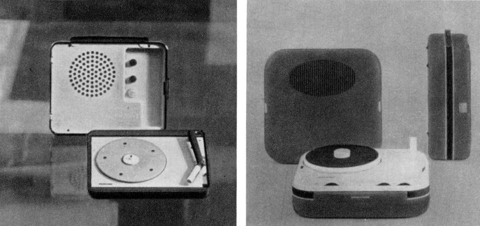 From left: Marco Zanuso and Richard Sapper, fv 1014 and  fv 1016 portable record players for Brionvega. From the pages of Domus 461 / July 1968