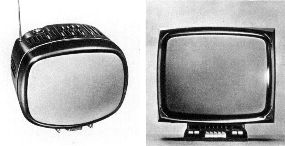 "From left: Marco Zanuso and Richard Sapper <em>Doney</em> 12"" portable television, <em>Yades</em> 23"" television, both for Brionvega.From the pages of Domus 461 / July 1968"
