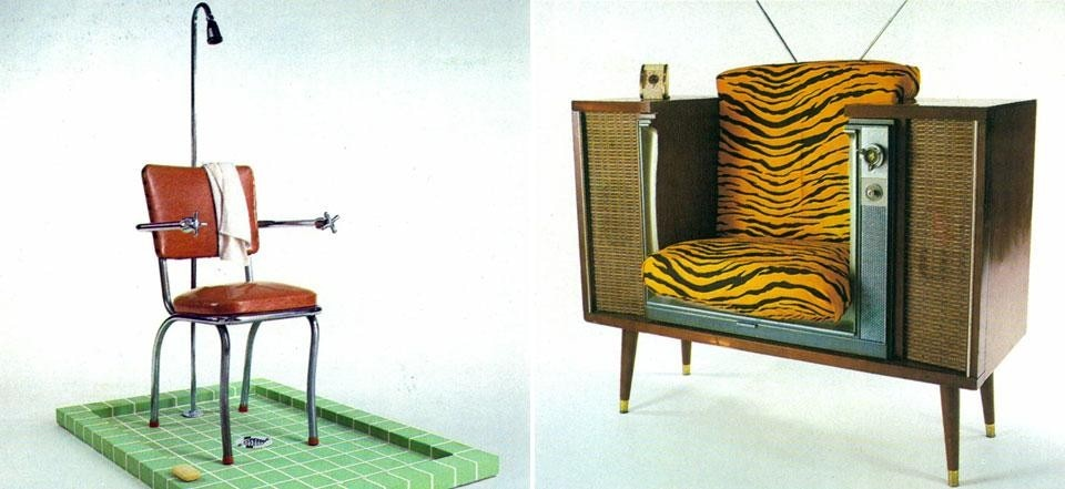 "Left, Philip Garner, sitting shower, intended for activities such as ""writing, napping, reading, playing solitaire"". Right, Philip Garner, TV chair, where an obsolete TV side table is enhanced with a chair, 1981. Photo by A. Rapoport. From the pages of Domus 621 / October 1981"