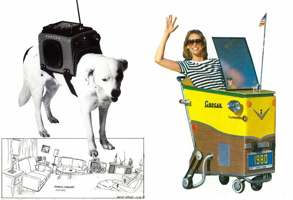 Top: Philip Garner, Closed Circuit Vanity, table and make-up mirror. Above: Left, Philip Garner, Woofer, portable radio for dogs, 1981. Photo by Cari Zappo. Right, Grocar, mini DIY automobile, built over a simple shopping cart. From the pages of Domus 621 / October 1981