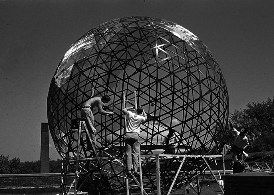 "Geoscope (""Mini-Earth"") prototype under construction at Cornell University, 1952. Courtesy of Estate of R. Buckminster Fuller and Stanford University Libraries, Special Collections, R. Buckminster Fuller Collection."