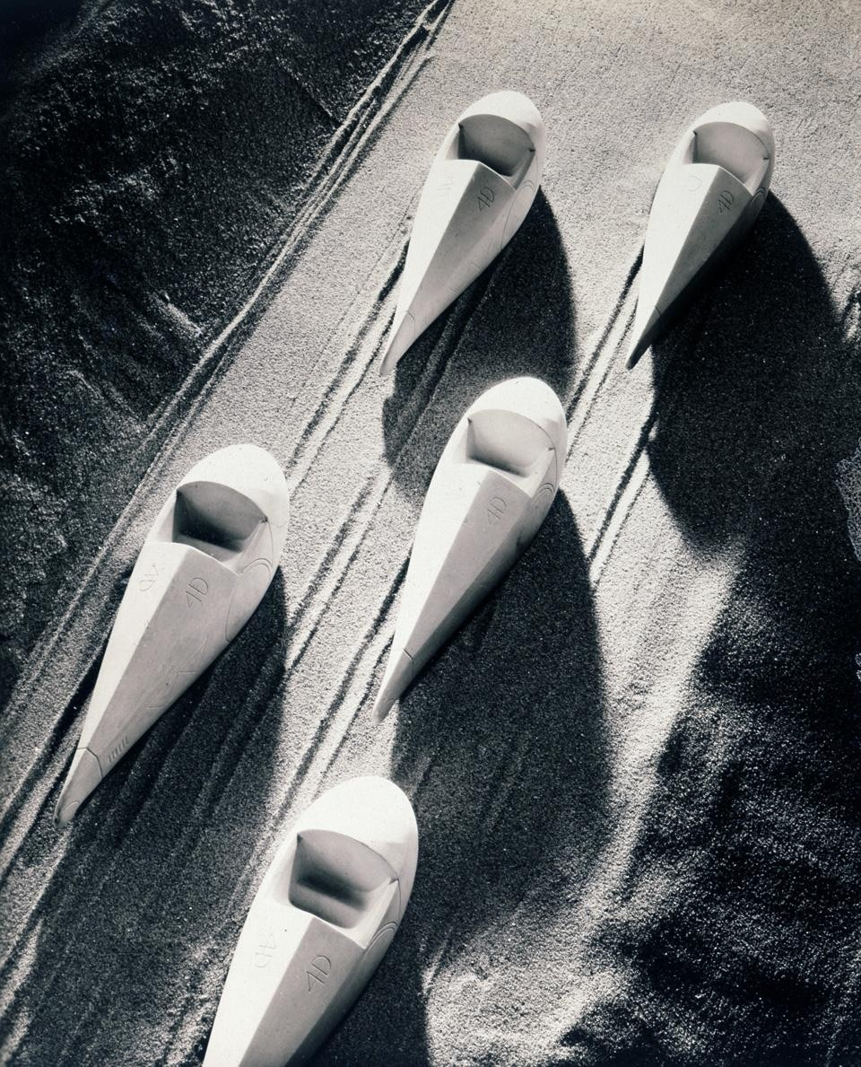 Isamu Noguchi, group of plaster models of the Dymaxion Car, 1932. Photograph by F.S. Lincoln.