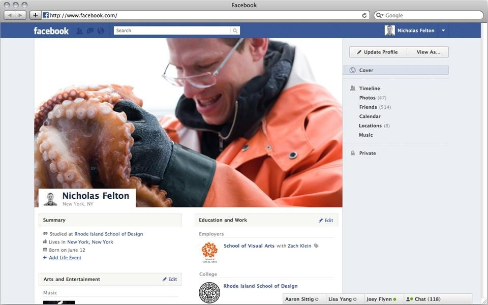 "Facebook Timeline, early mock-up by Felton and team. The ""Profile"" state indicates different treatment of profile picture, no integration of advertising and a right-hand navigation based on content categories rather than chronology"