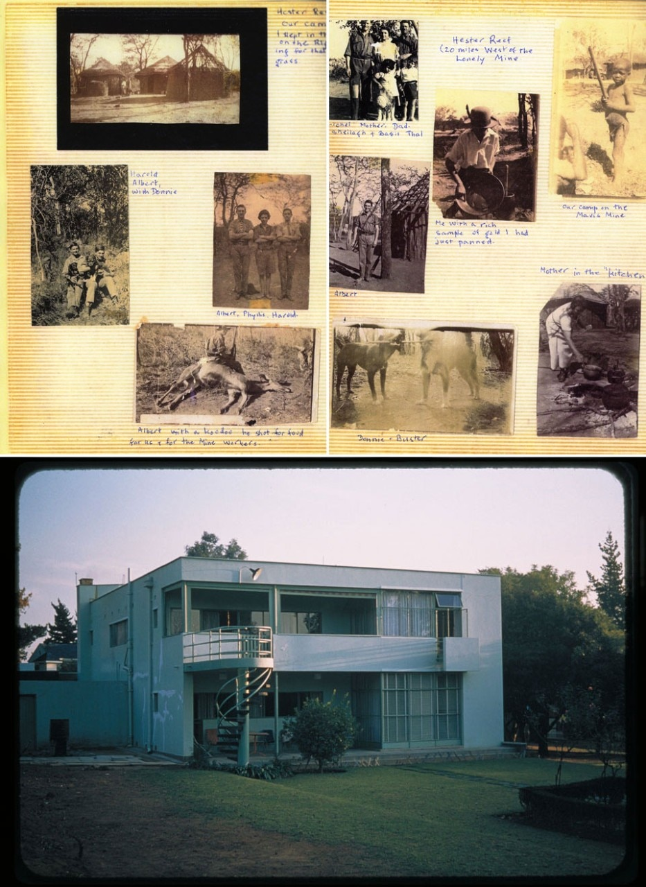 Top: Zambia 1920s, from Phyllis Hepker's photo album. In 1931 Phyllis became Phyllis Lakofski and Denise's mother. Photos by the Hepker family. Bottom: Lakofski family house. Johannesburg. Designed by Hanson, Tomkin and Finkelstein, 1934. Photo by Denise Scott Brown