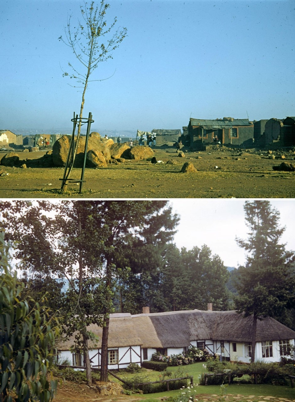 "Top: ""Is"" and ""Ought"": ""Is"", Shanty town outside Johannesburg, 1957. Photo by Denise Scott Brown. Bottom: ""Is"" and ""Ought"": ""Ought"", English style thatch cottage, Lidgetton, Natal Kwa Zulu, 1957. Photo by Robert Scott Brown"