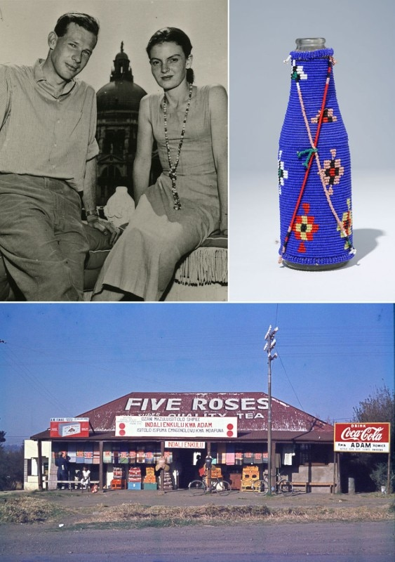 Top left: Robert and Denise Scott Brown in Venice, 1956. Top right: South African folk-pop art, gourd bead work on soda pop bottle.