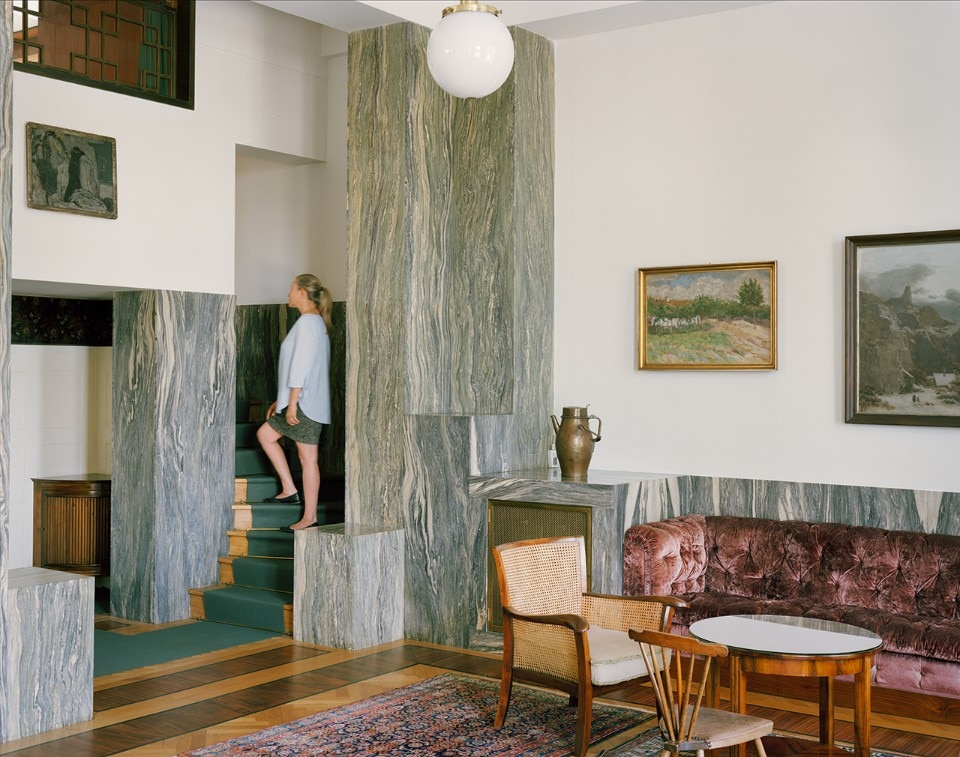 Stefano Graziani, Prague, 2017. Inkjet print, 96 x 121 cm. Photo of Villa Müller (Maria Szadkowska, curator of Villa Müller) by Adolf Loos, 1928, The City of Prague Museum