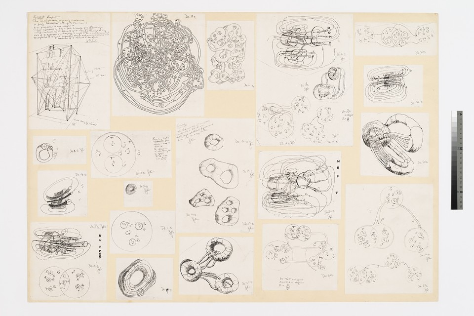 Archive. Gordon Pask (draughtsman), collage of sketches for Kawasaki project, 1986 or 1987. Collage on board, 64x85cm. Cedric Price fonds, Canadian Centre for Architecture, ©CCA