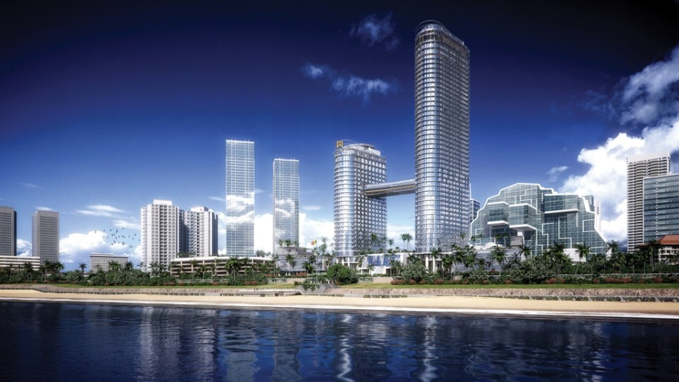 Img.1 The projected view of Sapphire Residences emerging and transforming the skyline of Colombo as seen from Galle Face