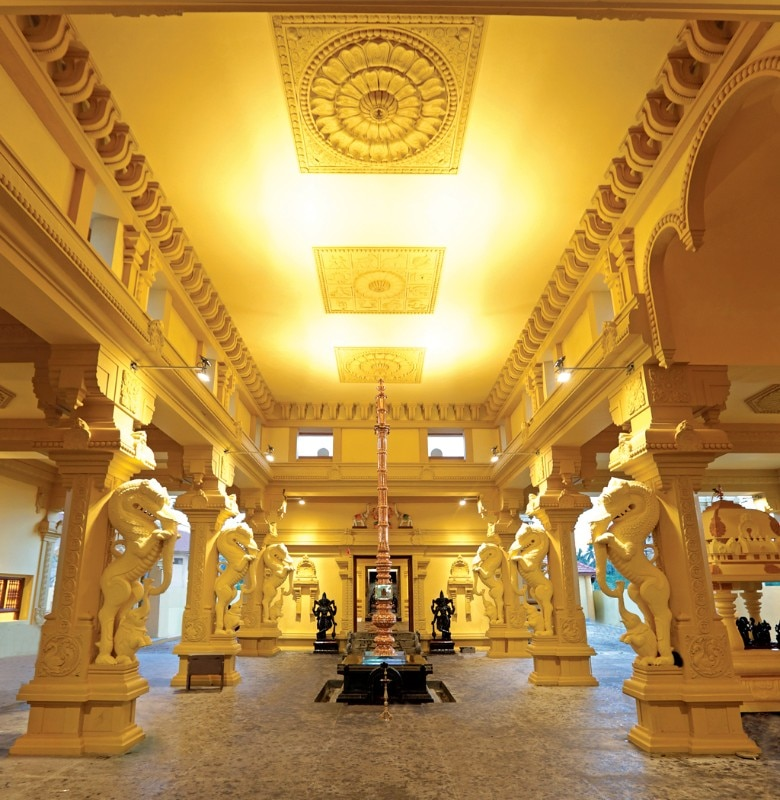 the yali pillars (mythical figures), kodimaram (flag pole) and ceiling with raasi katam (zodiac signs) exude great details of the kovil and lead to the inner sanctum.