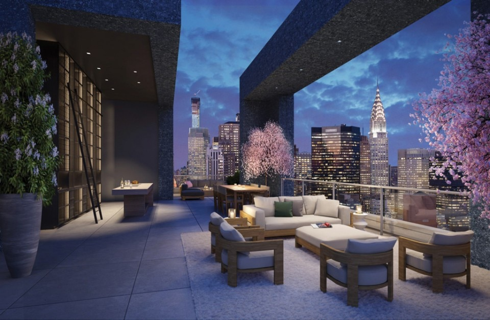 Penthouse ambience of the New York skyline at the 172 Madison Avenue