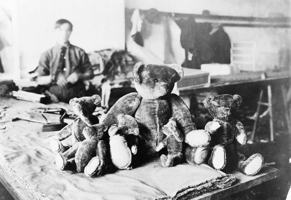 "Teddy bears in factory, 1915. From Saundra Marcel's D-Crit MFA lecture, ""Living Licensed: Consuming Characters in Girls' Popular Culture"""