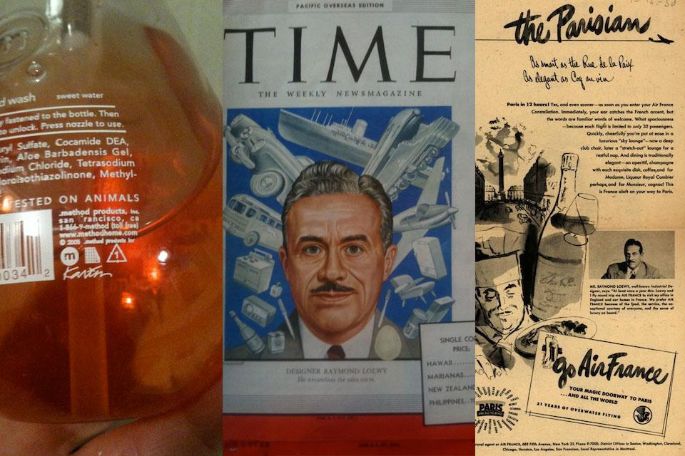 "From ""Going Public: Creation and Dissemination of the Designer's Identity."" Molly Heintz examines how designers promote themselves from the current era (Karim Rashid's signature on a method soap bottle) to Raymond Loewy (on the cover of Time magazine and in an ad for Air France—which at the time was not yet one of Lowey's clients)"