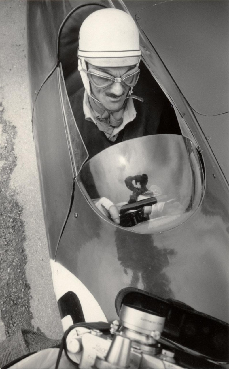 Carlo Mollino on his Bisiluro car, 1955. Photo Invernizzi.