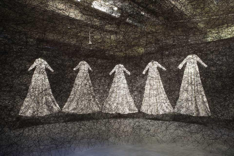 Chiharu Shiota (Japan) will construct a 9x9 metre web of interlacing black thread that will