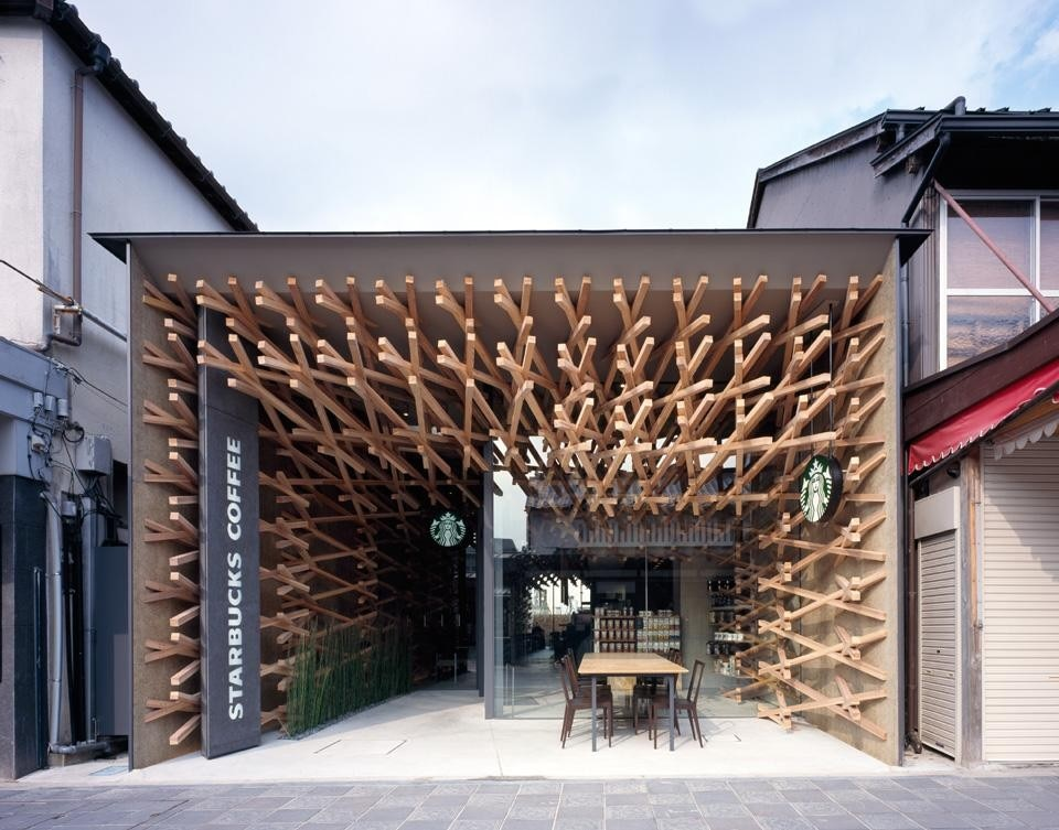 Kengo Kuma & Associates, Starbucks Coffee shop at Dazaifu Tenmangu Omotesando