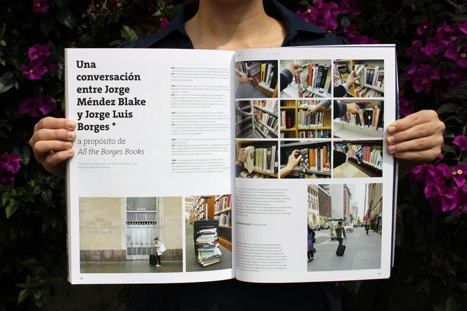 Interior spread showcases a fictional conversation between Guadalajara-based artist Jorge Méndez-Blake and Jorge Luis Borges apropos <em>All the Borges Books</em>