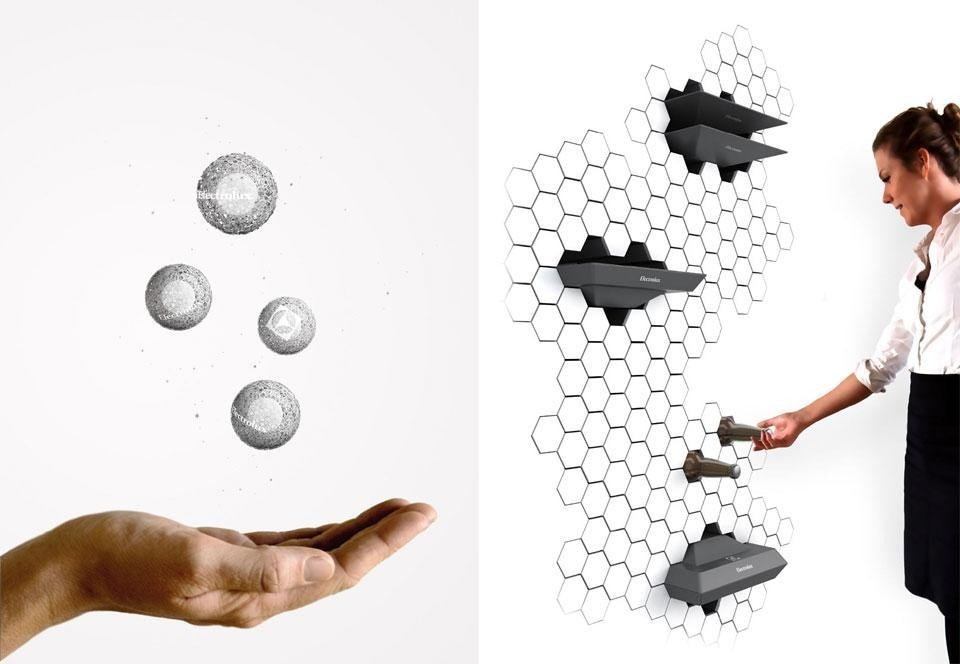 Top: Christopher Holm-Hansen, <em>Tastee</em>, taste indicator in the form of a spoon, winner of the third prize in the 10th Electrolux Design Lab competition. Above: Left, Jan Ankiersztajn's <em>Aeroball</em>, a collection of luminescent, hovering balls that can filter and fragrance the air in a room, winner of the first prize. Right, Ben de la Roche's <em>Impress</em> refrigerated wall, winner of the second prize.