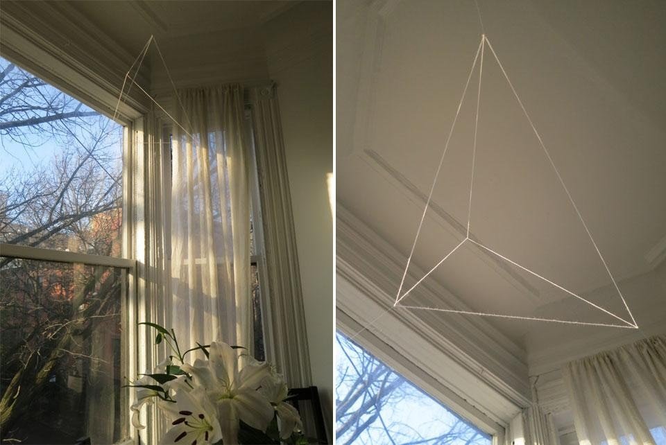 Top: Emily Weiner and Michael Hix, <em>Impermanence and Miracles</em>, 2012. Above: Jong Oh, <em>Untitled</em>, 2012, string and fishing line