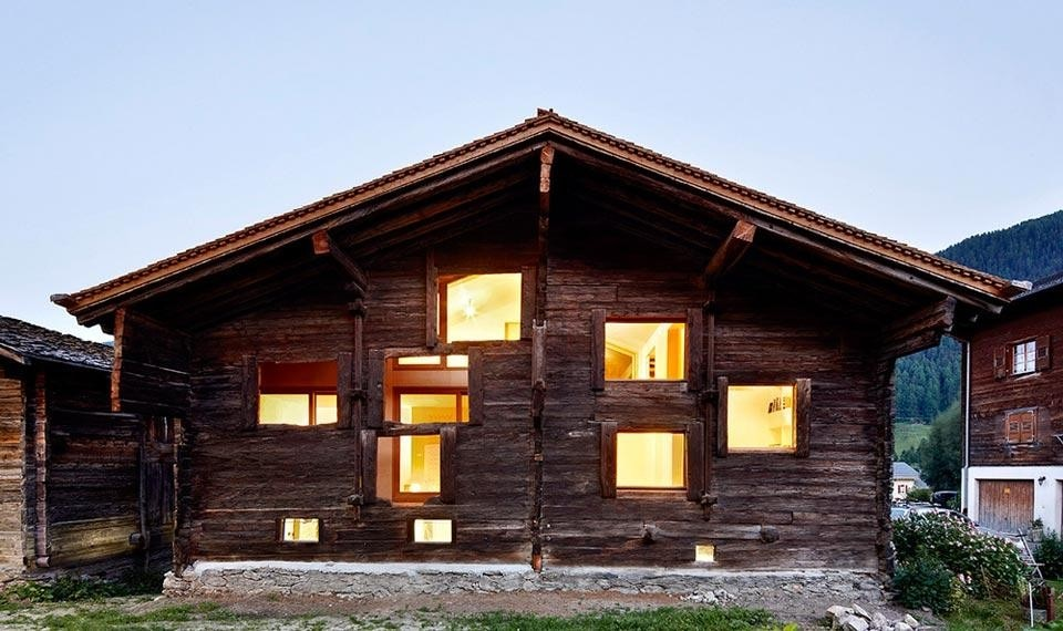 Top and above: Camponovo Baumgartner Architekten, <em>House C</em>, Reckingen, Wallis, Switzerland, 2012