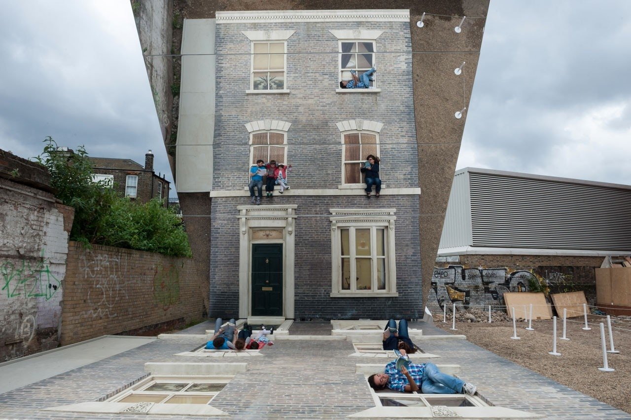 In Hackney, A Temporary Installation By The Argentinian Artist Is  Comprising A Life Size House Façade Lying Face Up On The Ground With A  Mirrored Surface ...