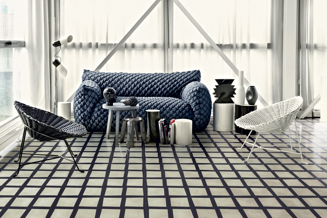 Bisazza cement tiles for Carrelage damier noir et blanc 20x20