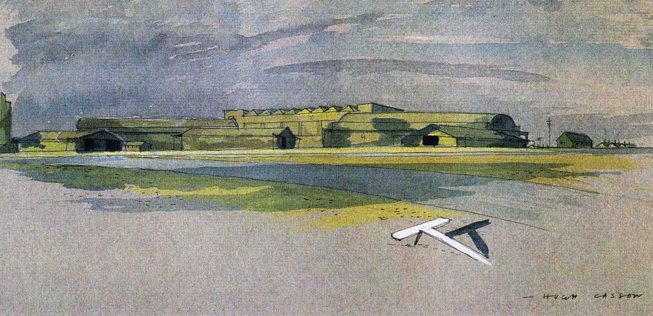 Hugh Casson, <i>Camouflaged airfield</i>, prospettiva, 1943. Victoria & Albert Museum, Londra, Archivi di Sir Hugh Casson e Margaret MacDonald Casson, donato dalle figlie Casson