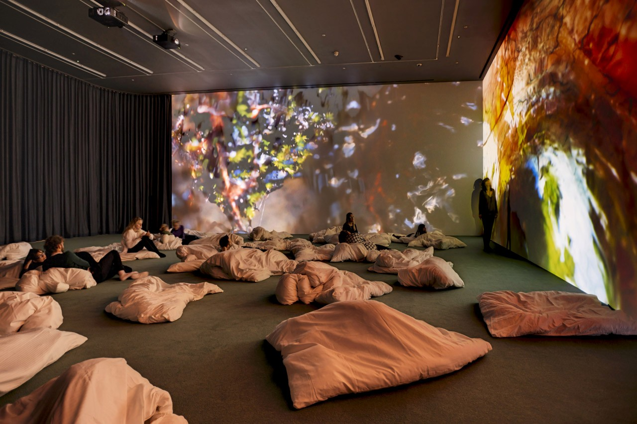 "Installation view, ""Pipilotti Rist. Worry Will Vanish"", Hauser & Wirth London, 2014.  © Pipilotti Rist. Courtesy the artist, Hauser & Wirth and Luhring Augustine, New York. Photo: Alex Delfanne"