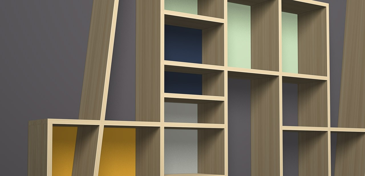 Oblique bookshelves