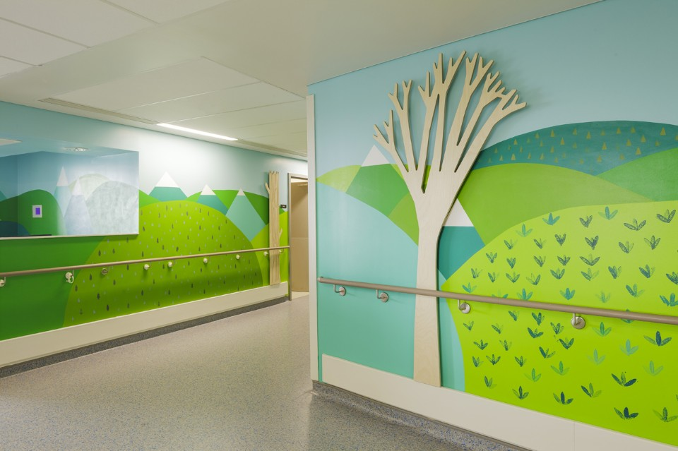 Vital Arts, Donna Wilson, Painted Landscapes, 2014, The Royal London Children's Hospital. Photography Joe Clark