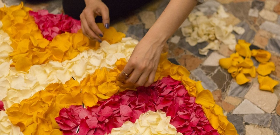 Chadni Kabra, Flower Carpet. Fabrica per Airbnb, Housewarming, Palazzo Crespi.