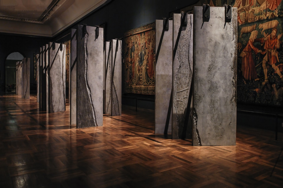Grafton Architects and Graphic Relief for Irish Design 2015, The Ogham Wall. View of the installation at the V&A's Tapestry Gallery, London