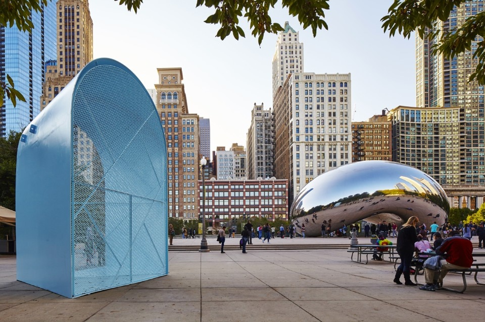 The University of Illinois at Chicago School of Architecture and Paul Andersen, (Indie Architecture), and Paul Preissner (Paul Preissner Architects), Summer Vault, Millenium Park, Chicago. Photo by Tom Harris, © Hedrich Blessing. Courtesy of the Chicago Architecture Biennial