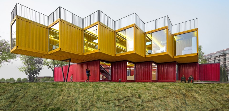 People's Architecture Office, Container Stack Pavilion, Taiyuan, China, 2015