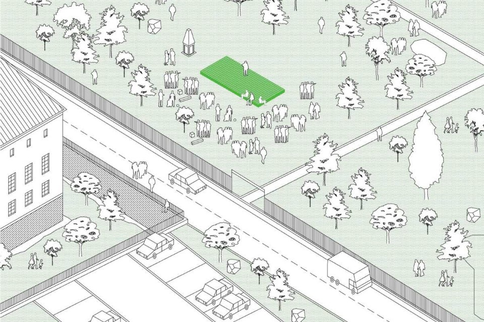 Plan Común and Tiago Torres-Campos, Common Places, axonometric view