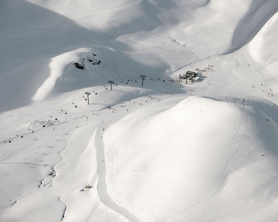 Top: Goos van der Veen, <i>The Skiable Landscape</i>: Les Deux Alpes, Isère department, France. Above: Goos van der Veen, i>The Skiable Landscape</i>: Les Arcs, ski resort located in Savoie, France, in the Tarentaise Valley town of Bourg-Saint-Maurice