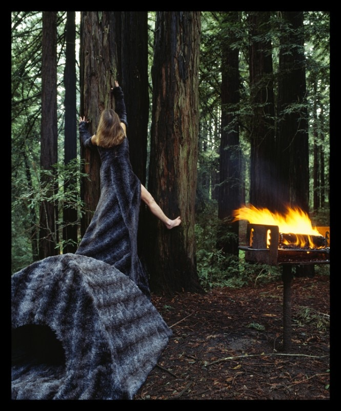"Robin Lasser + Adrienne Pao, Furry Dress Tent, installed in Oakland Hills Redwoods, Oakland, CA, 2005. Photograph: 30"" W x 36"" H Chromogenic Print."