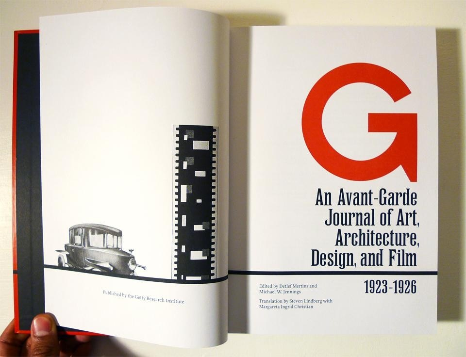Title page spread from <i>G: An Avant-Garde Journal of Art, Architecture, Design, and Film, 1923–1926</i>.