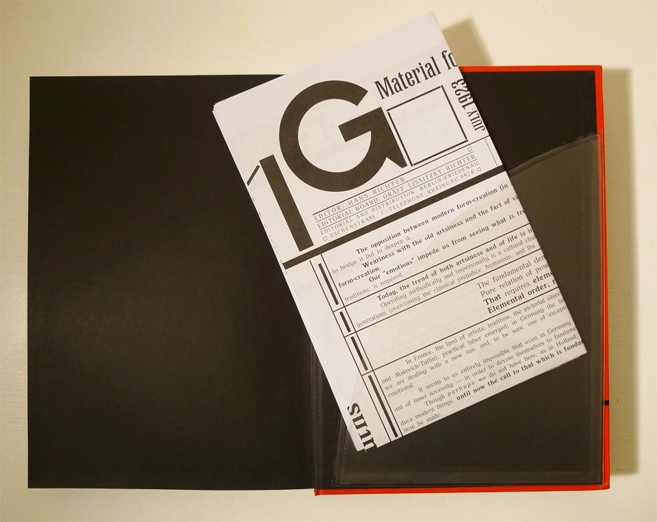 A sleeve on the inside back cover of <i>G: An Avant-Garde Journal of Art, Architecture, Design, and Film, 1923–1926</i> contains fold-out facsimile inserts.