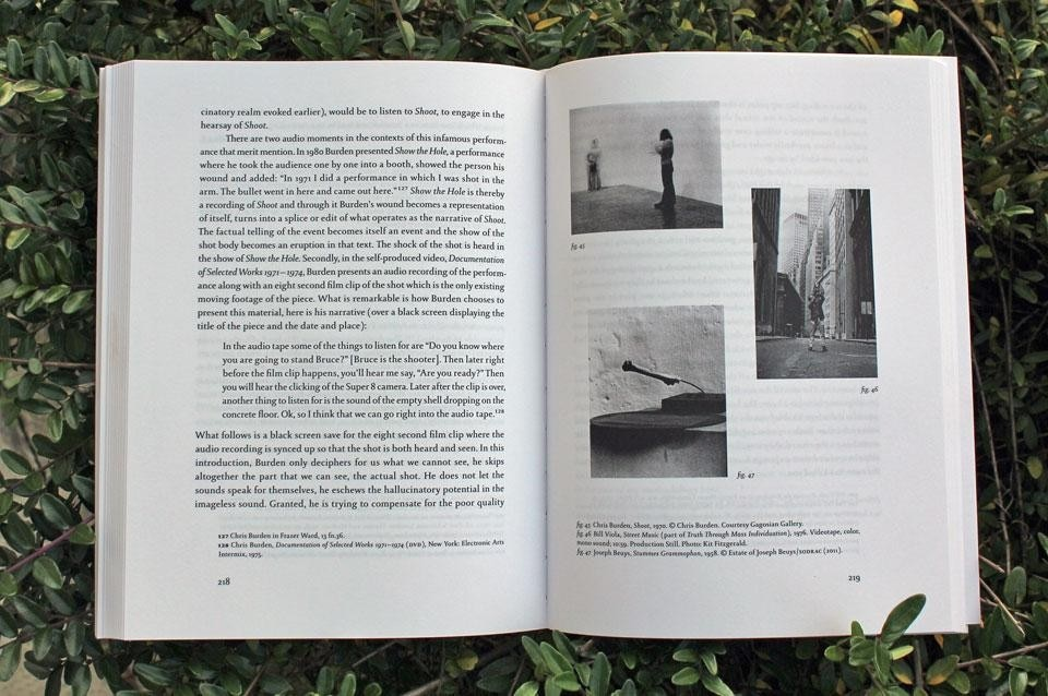 Christof Migone, <em>Sonic Somatic: Performance of the Unsound body</em>, Errant Bodies Publishing, Berlin 2012. Top: Cover. Above: Page detail