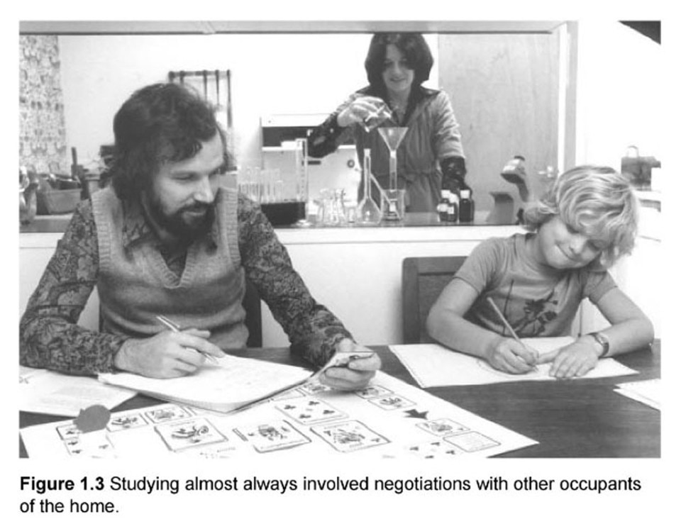 Open University students studying at home, ca. 1973. © Open University