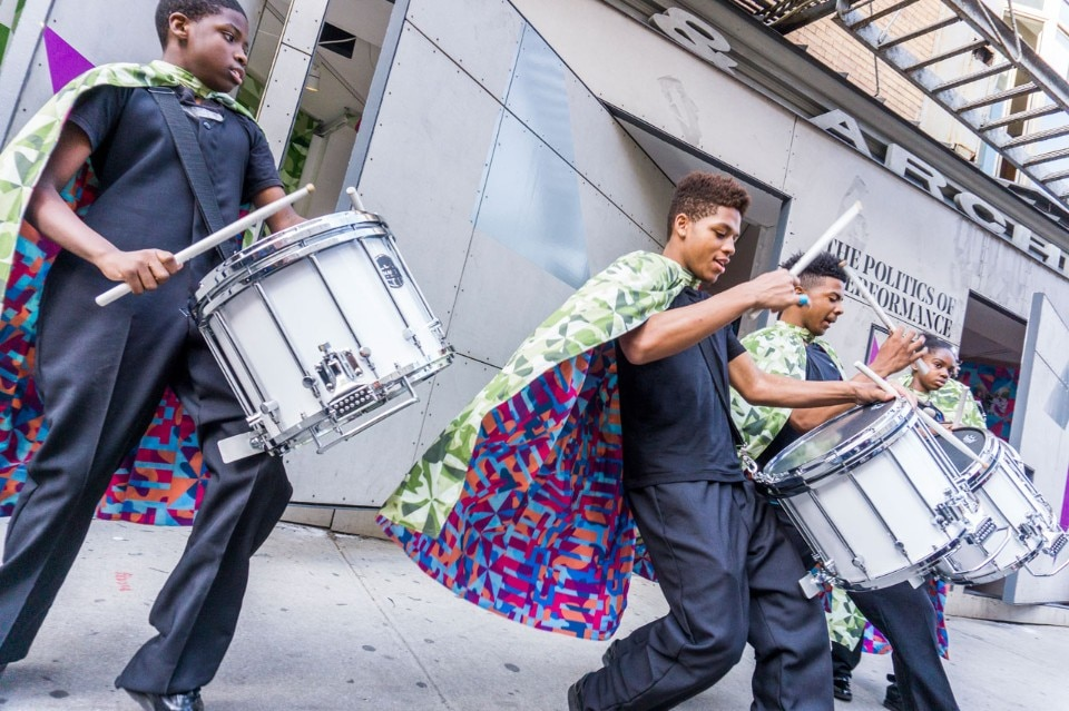 Marching On Performance. Commissioned by Storefront for Art and Architecture. Presented with Performa and Marcus Garvey Park Alliance. Marching Cobras of New York. Curated by Bryony Roberts and Mabel O. Wilson. Photo by Spencer Kohn. 2018