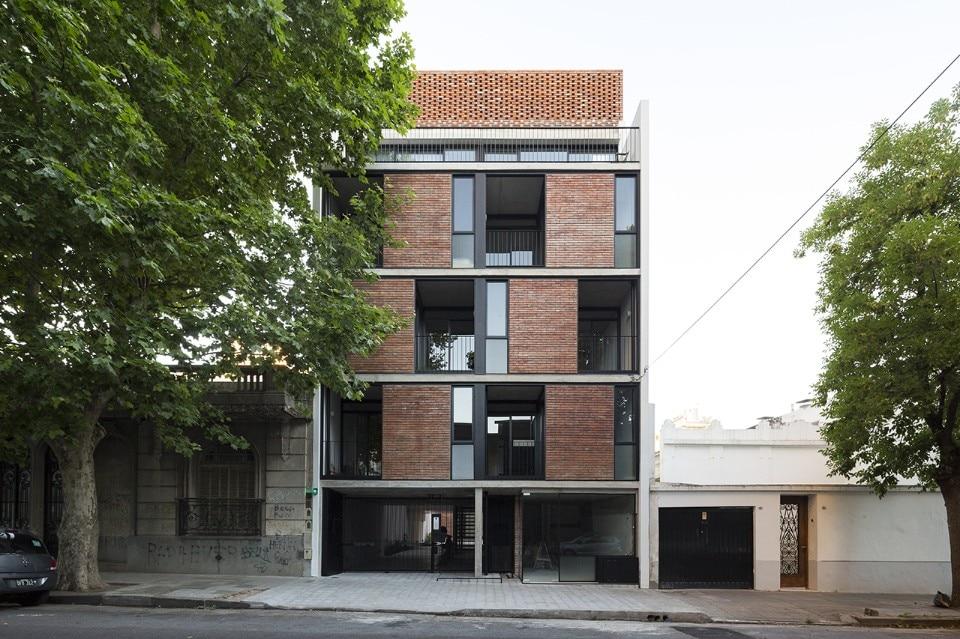 prefabricated modules form brick facade of buenos aires