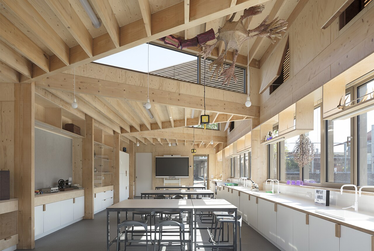 Wooden triangles enliven London science laboratory