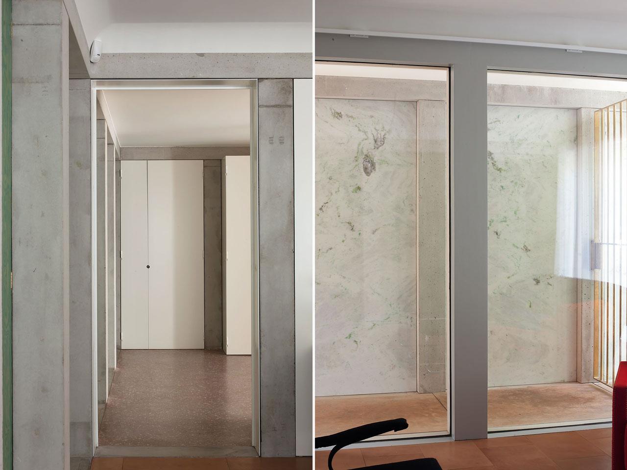 ... : Il corridoio d'accesso con il muro del garage rivestito in marmo